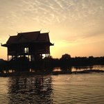 Floating temple at sunset