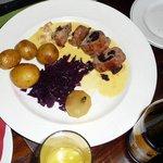 Pork & black pudding, pear, new potato's
