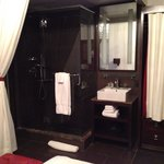 Bathroom inside the room - nice drape!