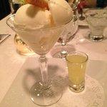 Lemon Sorbet w/ Limonello @ Assaggio Restaurant,168 Montowese St, Branford, CT