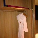 A sliding door covers the closet