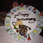 Our anniversary dessert and dinner were excellent! Totally enjoyed it!