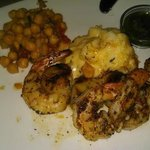 Shrimp and Scallops with Scalloped potatoes and garbanzos