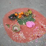 Wedding offering in front of hotel
