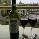 Cheers from our balcony (a view of The Vatican)