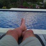 Enjoying the pool outside our Villa.