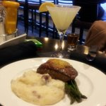 Steak, seasoned mashed potatoes & grilled to perfection asparagus this is a delightful dinner fo