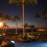 Poolside bar at dusk