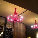 Front desk chandeliers, so trnedy
