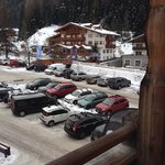 sport edy, ski hire shop from our balcony.