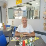 Myself at my favorite Fish and Chip shop Bugibba Malta. Seashells.