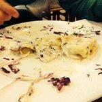 Ravioli gorgonzola noci e radicchio, ripieni ricotta e spinaci