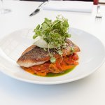 Crispy Skinned Barramundi with Pepperonata & Spiced Labna