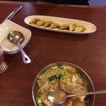 Wonton soup. Dumplings