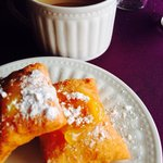 Fresh beignets and hot cider
