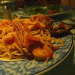 Seafood pasta at Petros