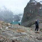 Top of Laguna de los Tres with small glacial avalanche
