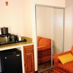 Fridge, microwave and coffee maker at Comfort Inn