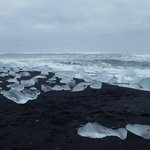 black volcanic sand beach strewn with ice berg fragments