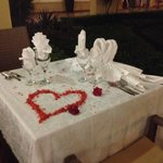 Lovely table decoration on an outside table in  Liberia  restaurant