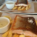 Quick drop in lunch of grilled salmon and chips - a gourmet twist on a seafood classic!