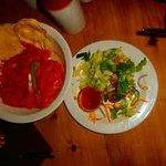 Sweet potato curry and caesar salad