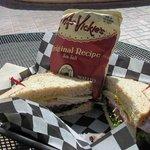 Turkey, ham and cheese sandwich