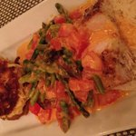 Mahi Martinique style- Grilled Mahi with jumbo crab cake ( too die for), asparagus, coconut rice