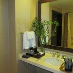 Bamboo on the bathroom counter