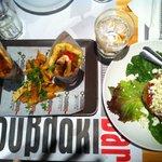 shots of souvlaki and takos salad