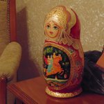 Small detail of my room. THe Babuska was a gift from a very kind friend I have in Moscow.