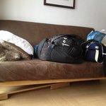 planche en bois sous le canapé