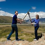 Playing with props atop Mt Sunday/Edoras