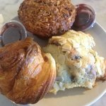 Morning glory muffin, sticky bun, and almond croissants (all a MUST)