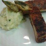 pork belly on lemon and thyme mash