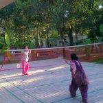 Family members are enjoying Badminton