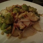 special, rubbed pork tenderloin with brussel sprouts, taters and carmelized onions.