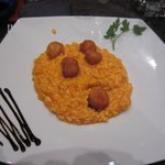tomato risotto with deep fried cheese balls