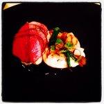 Seared venison, celeriac, red wine jus