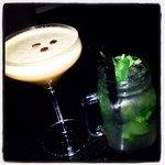 Espresso Martini and mojito in the bar