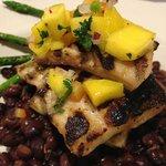 Grilled Mahi Mahi w/ black beans and asparagus