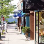 Downtown Petoskey shopping with view of Little Traverse Bay