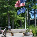 our main dock, with Maine state flag