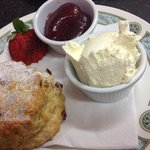 Traditional fruit scone and jam and cream