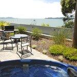Studio patio with spa & views