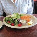 Alaska Halibut Fish with salad. Nice fish!
