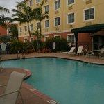 pool behind hotel