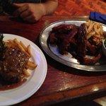Steak and ribs.