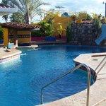 Beautiful pool area with slide