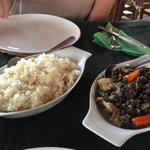 Dried Taro Leaves with Pork and Garlic Rice
